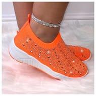 Lemonade Crystal Bling Sock Trainers Neon Orange