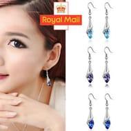 Lady Women 925 Sterling Silver Crystal Long Drop Dangle Hook Earrings