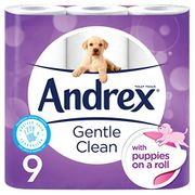 9 Andrex Gentle Clean Toilet Rolls, Puppies on a Roll (Amazon Pantry)