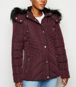 Burgundy Faux Fur Trim Fitted Puffer Jacket