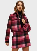 PETITE Pink Checked Trucker Jacket