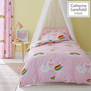 Best Ever Price! Catherine Lansfield Rainbow Swan Easy Care Single Duvet Set