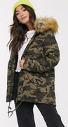 Brave Soul Pather Parka in Camowith Faux Fur Hood Trim