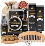 Beard Kit for Men Grooming & Care W/Beard Shampoo Oil Balm Comb Brush Scissor