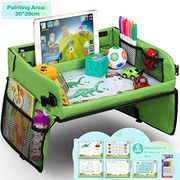 Lenbest Snack & Play Travel Tray with Dry Erase Top & 16 Mesh Pockets