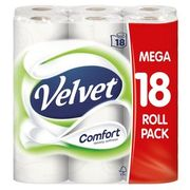 Velvet Comfort Toilet Rolls 18 per Pack