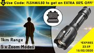 1km Military-Grade Flashlight & 5pc Accessory Box