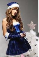 Blue Women's Santa Costume (Dress, Hat, Arm Cover, White Fishnet Stockings)