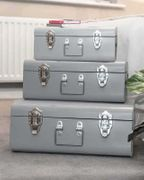 Grey Trunks with Chrome Handles - Set of 3