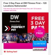 Free 3 Day Pass at DW Fitness First 120 Locations Nationwide!