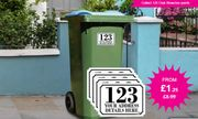 Cheap 4 X Personalised Wheelie Bin Stickers - 4 Sizes! from £1.25