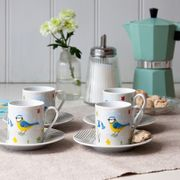 Set of 4 Blue Tit Espresso Cups and Saucers