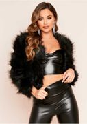 Black Cropped Shaggy Faux Fur Coat