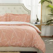 Bedsure Printed Duvet Cover Single Size Pink& Ivory Branch Pattern