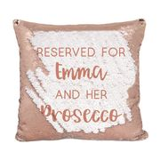 Personalised Reversible Sequin Cushion Cover - Secret Message, Rose Gold