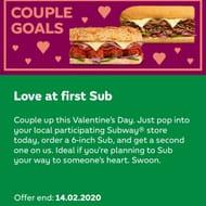 Bogof Valentines Subway instore only