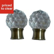 Brass Effect Acrylic Facet Curtain Pole Finial 28mm, Pack of 2 Was ,£8.40