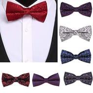 Mens Paisley Bow Tie Floral Print Jacquard Silk Tie Wedding Party Bow Tie