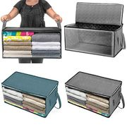 Gugio Clothes Storage Bag with Zips for Clothes and Blankets Portable Underbed