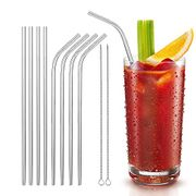 Best Price! 8 Stainless Steel Reusable Drinking Straws with 2 Cleaning Brush