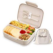 Baban Lunch Box Bento Box for Kids Adults Natural Wheat Straw Made