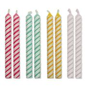 PME 4 Colour Striped Candles, Small Size, 24-Pack - Only £0.42!