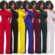 Ritokme Women Casual Oblique Collar Short Sleeve Solid High Waist Jumpsuits