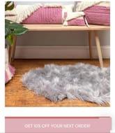 Soft Grey Rug Faux Fur
