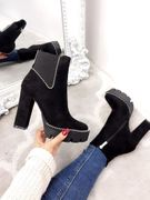 Charles Black Faux Suede Studded Heel Boots