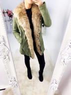 Marsiana Khaki Suedette Faux Fur Collar Biker Jacket