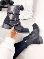 Elle Black Faux Leather Studded Diamante Ankle Boots