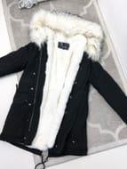 Peru Black Parker White Faux Fur Hooded Long Coat