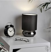 Pair of Black Chrome Touch Table Lamps with Black Shade