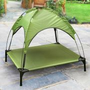 Raised Pet Bed with Canopy - Green
