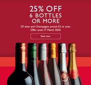 25% off 6 Bottles or More of Wine and Champagne
