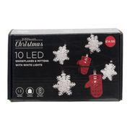 WHSmith 10 LED Snowflakes & Mitten White Christmas Lights