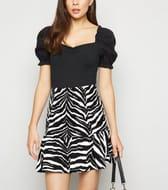 Black Zebra Print Shirred Peplum Hem Mini Skirt