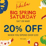 20% off £20 in Japan Centre Ichiba for Local Community and Key Workers