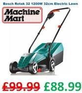SAVE £11 - Bosch Rotak 32 1200W 32cm Electric Lawn Mower