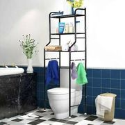 3 Tier Bathroom over Toilet Storage Shelves Towel Rail Shelf Rack Laundry Holder
