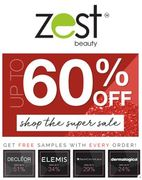 Zest Beauty SUPER SALE + FREE samples with every order.