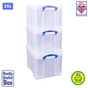 Really Useful 3 X 35 Litre Storage Box, Clear