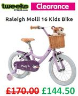 TWEEKS CYCLES CLEARANCE DEAL - Raleigh Molli 16 Wheel Kids Bike (Age 4-6)