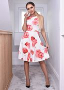 Kaylene Ivory Floral Flared Skater Dress