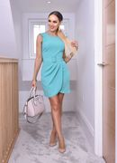 Jazmine Mint Pleated Wrap Belted Mini Dress