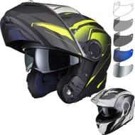 Black Optimus II Infinity Flip Front Motorcycle Helmet & Visor Kit
