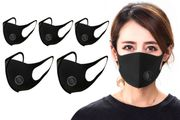Reusable Black Face Masks with Air Valve - 5 (Or 10 for £27.99) + £3.99 Delivery