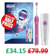 PINK Oral-B Pro 2 2500 3D White Electric Rechargeable Toothbrush