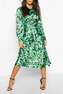 Leopard Print Tie Detail Satin Midi Dress