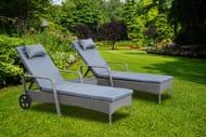 Blackfriars 3pc Rattan Sun Lounger Furniture Set - 3 Colour Choices